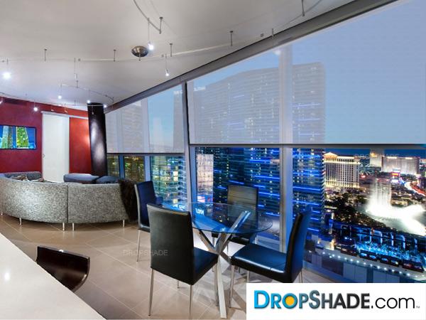 Interior Drop Shades Retractable Solar Window Treatments